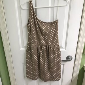 Women's one shoulder dress with polka dots